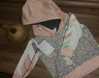 Blush, Fox, Arrows Baby Girl Hoodie 0-3 months
