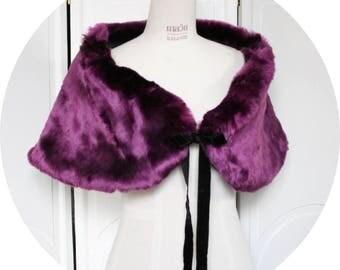 Shawl faux fur purple, Black Fleece velvet lining, violates stole fur and fleece, fall faux fur