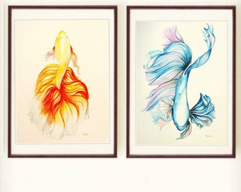 Original watercolor painting, colorful fish,tropical fish,set of blue and yellow siamese fighting fish,handmade artwork,not print,aquarium