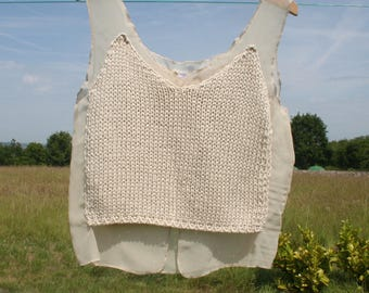 Top blouse woman. Top beige tank top, crochet, cloth.   Size 3 XL.  Vintage. Made in Italy.