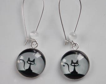 earrings, cat in the Moonlight