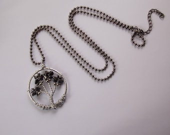 tree of life necklace and leaves with hematite