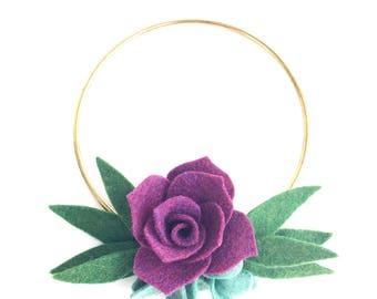 Modern Minimalist Hoop Wreath with Felt Succulents . Milestone Wreath . Felt Succulent / Flower Wall Hanging . Home Decor 6 inch Wreath