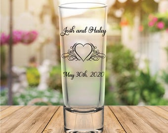 Custom Flourished Heart Tall Wedding Favor Shot Glasses