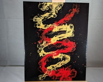 "16"" x 20"" Fluid Acrylic Abstract Painting - Red, Gold, Black"