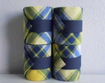 Polo wraps in yellow plaid fleece horse size set of 4