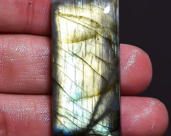 High Quality Natural Labradorite Smooth Polished Baguette Cabochon 39x18x7 MM Size AAA Quality Golden flash For jewellery In low Prize Sa114