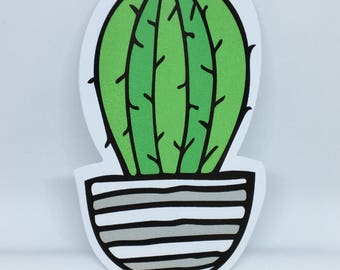 Large potted cactus sticker