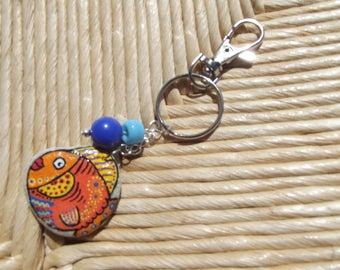 Hand painted Pebble fish keychain