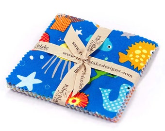 """In the Ocean by Lesley Grainger for Riley Blake - 5""""x5"""" Stacker - Stacker Precuts 18 Pieces - Quilting - Precuts Fabrics"""