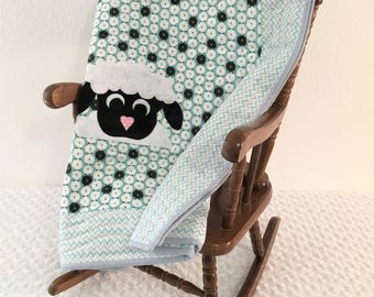 Small Blue Lamb Applique Quilt With Blue Flower Back