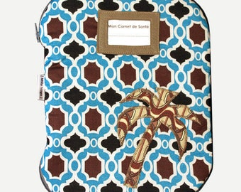 Health book printed geometric patterns and application Palm tree door tag and zipper closure