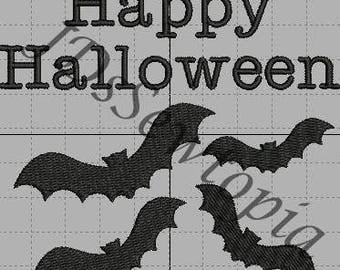 Happy Halloween Bat Machine Embroidery Design 4x4 in 17 Formats
