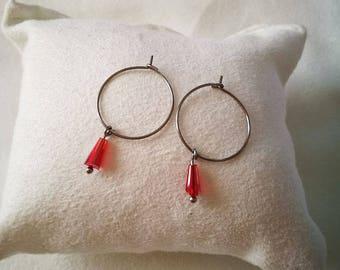 Titanium Crystal shape pompom A hypoallergenic hoop earrings