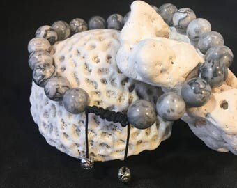 Men's Grey Jasper Adjustable Wrist Mala Bracelet Smooth Round Bead Knotted Gemstone Gift