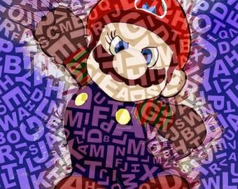 Mario Krueger III nintendo, mario, imprimable, dessin, peinture, décoration, enfant, tableau, illustration,