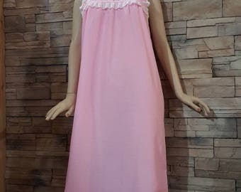 Pink night gown, long nightie,sleepwear