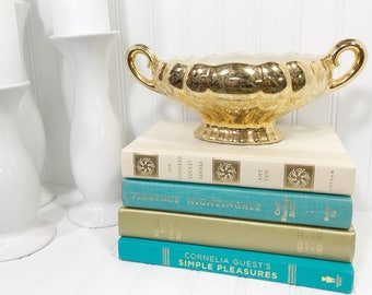 Turquoise and Gold Decorative Book Set
