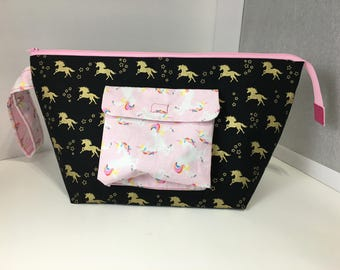 Magical Gold Unicorn Over-sized Make-up Pouch Zipper bag Large Travel pouch