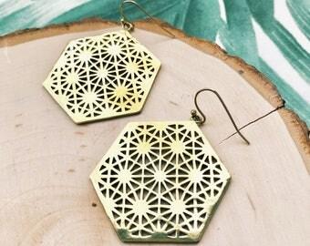 Mandala Earrings, Sacred Geometry, Flower of Life, Brass Earrings