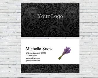 Essential Oil Business Card, Download, Printable, Personalized, Black Damask, Lavender, Independent Distributor, Wellness Advocate, Blogger