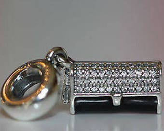 Authentic Pandora Clutch Bag Dangle Charm, Black Enamel & Clear CZ tem# 792155CZ