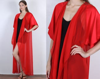 70s Sheer Robe // Vintage Red Maxi Lingerie Nightgown Sleepwear - Medium