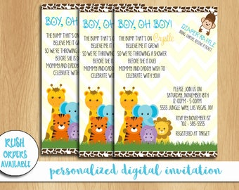 Safari Baby Shower Invitation / Boy, Oh Boy Baby Shower Invitation / Baby Shower Invitation / Personalized / Custom / Digital File