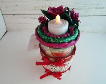 Rose Garden- Valentine's Jar Candle Holder