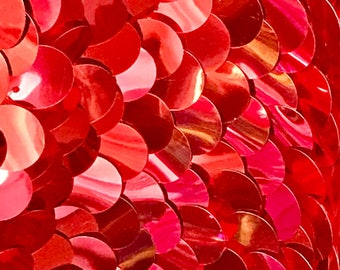"""Shiny Red Large Paillette Sequin Fabric By The Yard 58"""" Wide"""