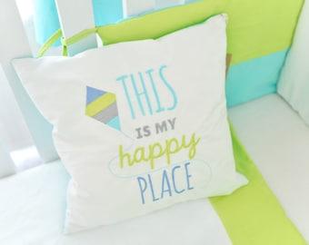 "Blue Nursery Pillowcase - Toddler Pillowcase - Nursery Pillow Cover - Every day SONday ""This is my happy place"" Nursery Pillowcase Boy"