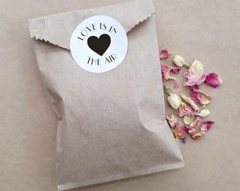 Wedding Confetti Paper Bag Biodegradable Heart Personalised Custom Floral Petal Confetti Packs Exit Toss Rose Lavender Jasmine x 20