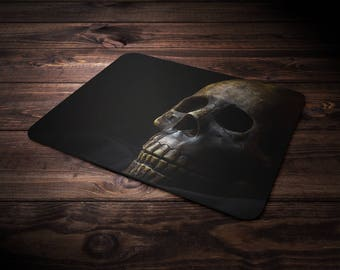 Skull Mouse Pad, Goth Mousepad, Gothic Computer Accessory, Macabre Decor, Creepy, Eerie, Dark Art