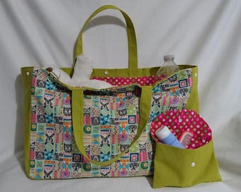 Tote bag / diaper bag and pouch animals