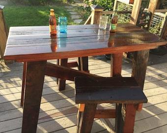 Reclaimed Redwood Pub Table w/ Stools