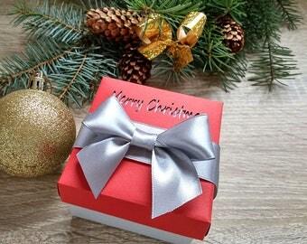 Christmas Eve Box, Merry christmas box, 10 gift box, packaging box, Red box with ribbon, Christmas box, Christmas gifts