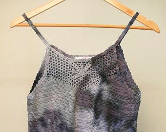 25% OFF ENTIRE SHOP Ladies Size L/14 Crochet Crop Top - V Neck Front - Beach - Festival - Ready To Ship - Tie Dyed - 100 Percent Cotton - Fr