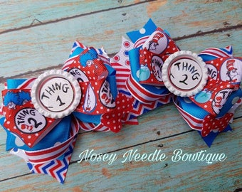 Thing 1 and Thing 2 Pigtail hair bows, Thing 1 thing 2 hair bows, Dr Seuss hair bow, Back to school hair bow, Thing 1 invitations, Dr suess