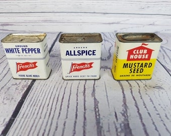 Vintage Three Spice Tin Containers / French Ground White Pepper / Clubhouse Mustard Seed / French Allspice / 70s Kitchen Decor Prop
