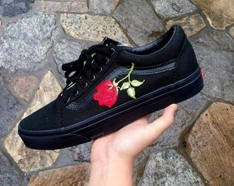 SALE!!! All Black Roses Custom Vans