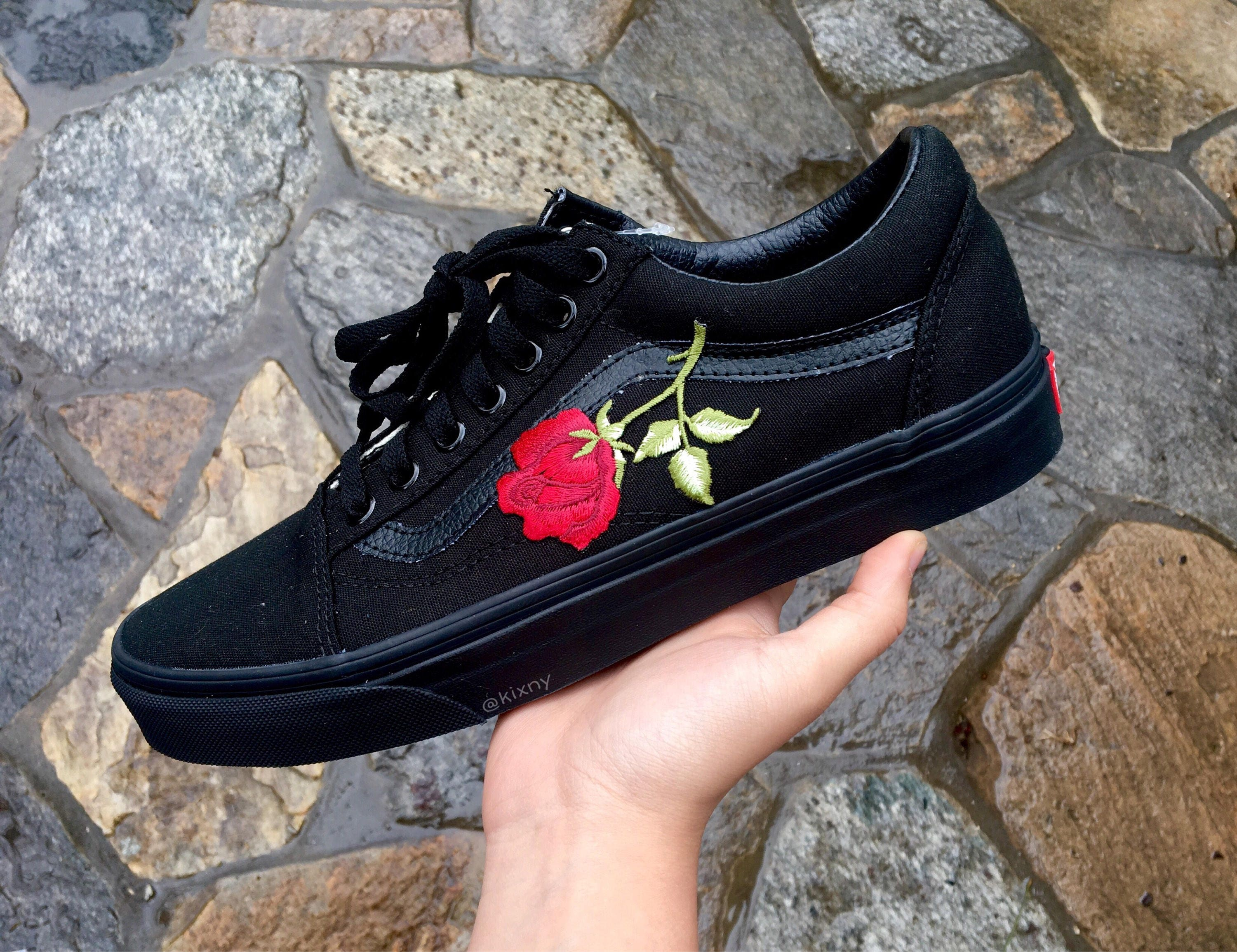 all black vans with roses