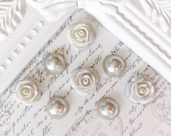 White Flower Magnets or Pushpins, Magnets, Pushpins, Cream Pearl Magnets Or pushpins, Pearl Magnets, Decorative Magnets, Wedding Favors