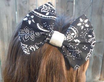 Black Paisley Hair Bow