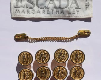 Vintage ESCADA ONE gold tone metal buttons with solid screw flat head button stud