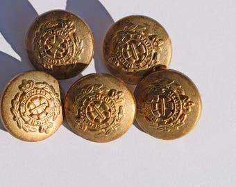 Set of 5 pcs Vintage Regiment gold metal buttons golden logo