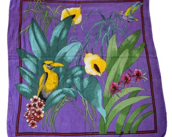 Vintage scarf hand rolled parrot hummingbird flowers