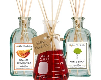 Pick 3 Reed Diffusers | 8 oz | Spanish Recycled Glass | Erlenmeyer Flask | Diffuser | Flameless | Artisan | Home Fragrance