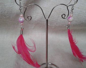 curly feather and Pearl Earrings earrings
