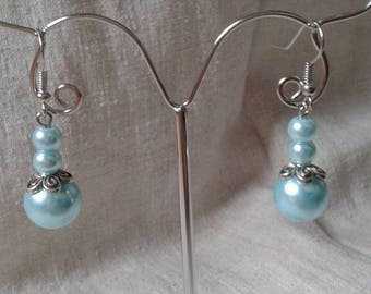"""three Blue Pearl"" earrings"