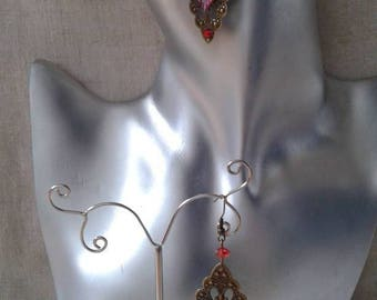 """Earrings """"print and leaf red rhinestone"""""""